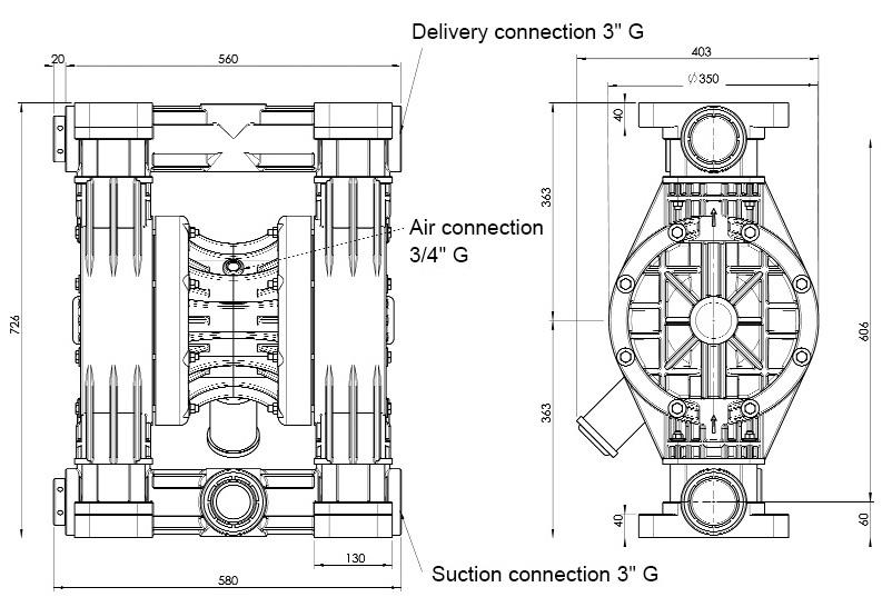 Diaphragm pump JP-800.850 - Jessberger Drum pumps